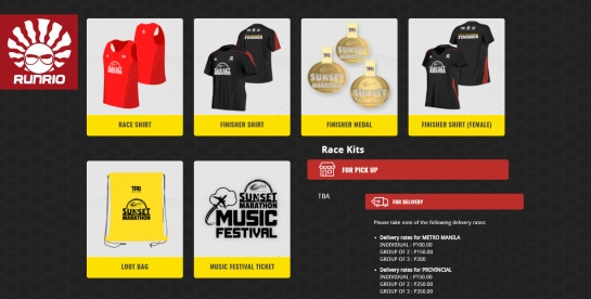 sunset marathon race kits